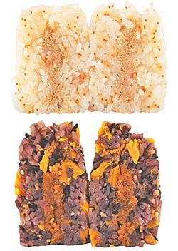 明太子鱈魚子飯糰(上)、紫米肉鬆飯糰(下)