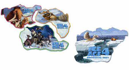 含全穀雀巢營養早餐脆片「冰原歷險記4」限量版板塊拼圖共三種不同版本,蒐集完三種板塊拼圖,還可重新結合原本分裂的冰原大陸