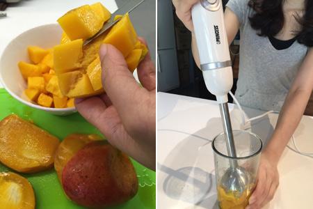 小編推薦用【PRINCESS專業級均質攪拌棒】可快速將芒果打成泥狀