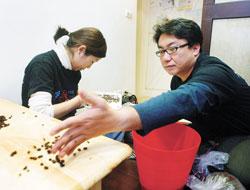 血汗工廠▲「生態綠」小房間內挑選咖啡豆的場景,兩位店長自嘲是「第三世界血汗工廠」。(范揚光攝)