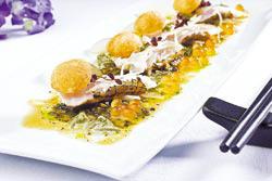 松露真鯛刺身襯柑橘鮭魚卵