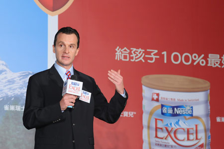 台灣雀巢總經理賀富華先生與大家分享雀巢瑞士寶兒成長奶粉的優質乳源-r