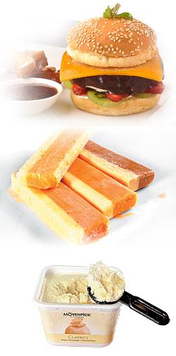 晶華酒店和Haggen-Dazs合作推出創意克力冰淇淋漢堡 (上)。澳洲Wei's冰棒(中)。莫凡彼冰淇淋(下)。