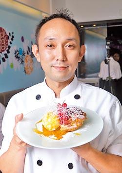 嘉手納慶一▲曾於法國學習多年,又融入日式風格,Fusion式的甜點擺盤有西式的華麗,也有日式的優雅。