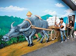 ▲走在頭社村裡,新的壁畫,舊的房舍,形成一個特殊的聚落景致。攝影  陳信翰、劉宗龍