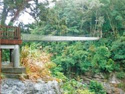 從神仙谷吊橋俯瞰溪谷,寬闊的谷地美不勝收。攝影  黃如萍
