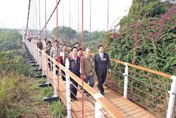 ▲「華陽吊橋」是吊橋大王林枝木生前最後一座吊橋,昨天修復完成,重新啟用。攝影  吳敏菁