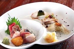 生魚片拼握壽司/1600元晚間套餐▲握壽司用昆布心、金山寺味噌等豐富滋味。攝影  鄧博仁