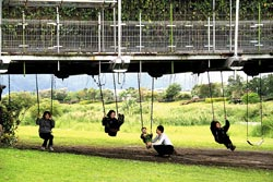 津梅棧道殊景 ▲津梅棧道連接宜蘭河濱公園兩岸,橋下有鞦韆供遊客玩耍。攝影  王曉鈴