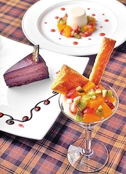 ▲洋旗的甜點很受女姓與小孩的喜愛,巧克力水果塔、榛果巧克力慕思、義式鮮果奶酪都是新甜點,單點55元。攝影  王英豪
