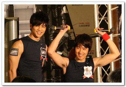 記者會中趙又廷及鄒承恩擔任一日健身教練,秀出猛男身材示範肩部推舉機和舉腿機,還大跳健身暖體操。