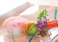 ▲「牡丹蝦握壽司」選用肉質細緻的牡丹蝦,入口軟黏香甜,滋味純淨。攝影  鄧博仁